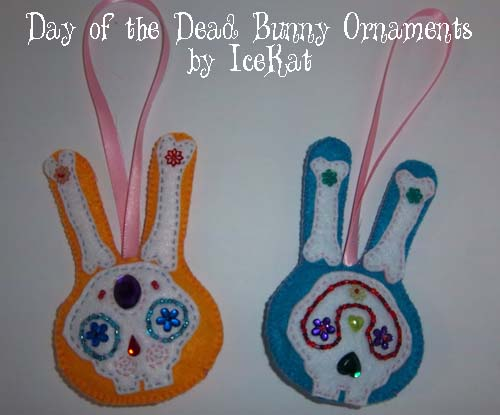 Day of the Dead bunny ornaments
