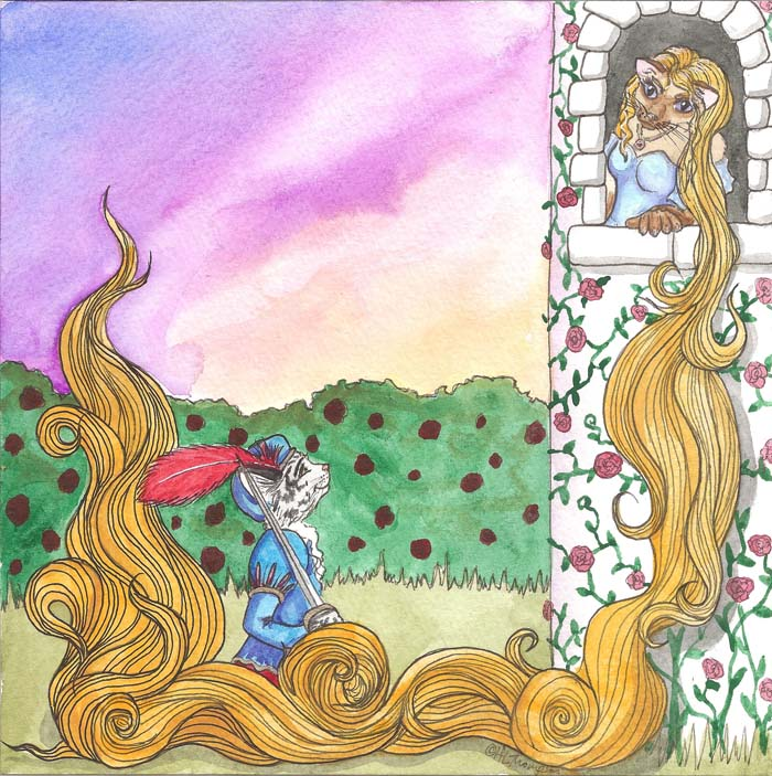 Cat Rapunzel and her Prince