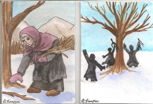 Old Woman Gathering Firewood and Waking the Trees for Imbolc 2014 by IceKat