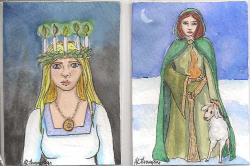 Candle Maiden and Brighid for Imbolc 2014 by IceKat