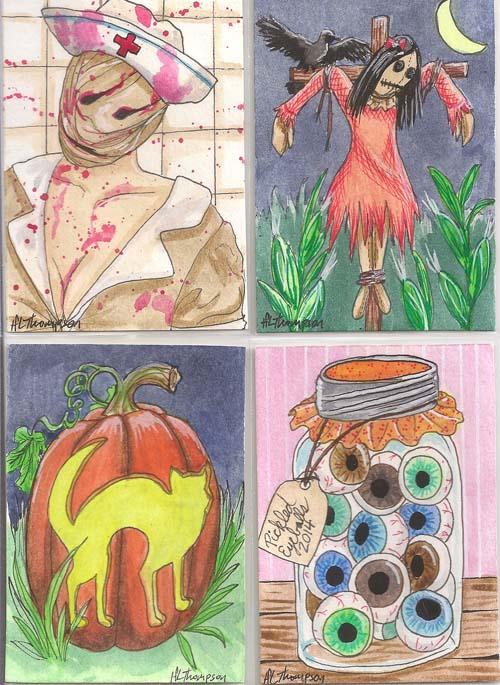 Silent Hill Nurse, Scarecrow Girl, Cat Jack o lantern,  Jar of Eyeballs