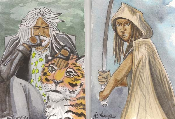 Ezekiel with Shiva, and Michonne from The Walking Dead by IceKat