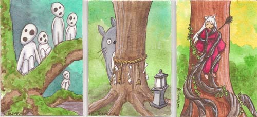 Totoro's Sacred Tree; Inuyasha Bound to a Tree by IceKat