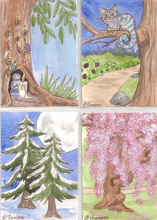 Tree Altar; Cheshire Cat in a Tree; Moonlit Pines; Cherry Blossom Tree by IceKat