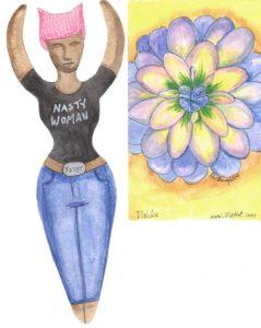 Nasty Woman Goddess and Dahlia deco page